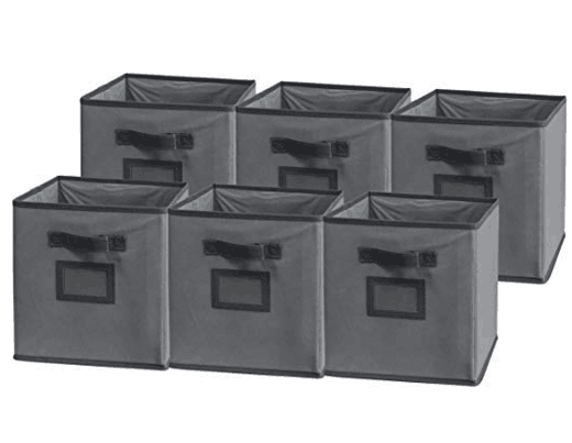 Sodynee Foldable Cloth Storage Cube,6 Pack, Dark Grey/Grey
