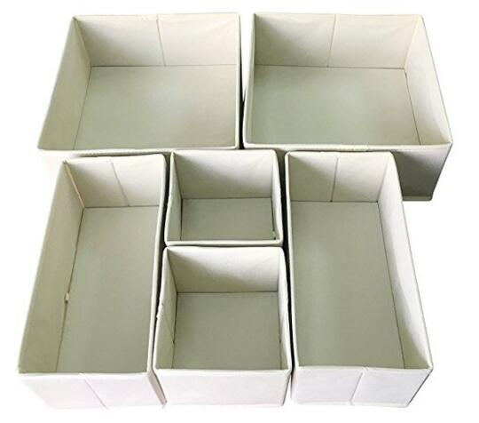 Sodynee Foldable Drawer Organizer,  6 Pack, Beige