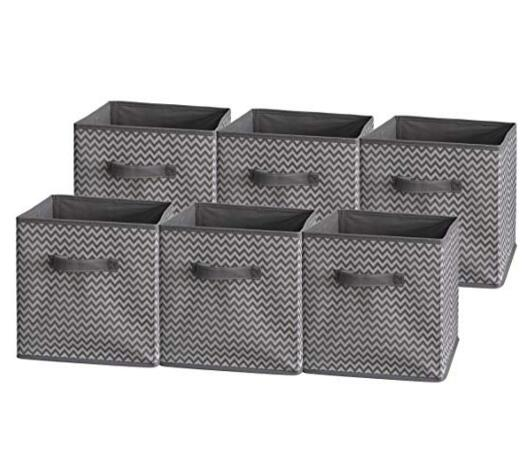 Sodynee Foldable Cloth Storage Cube,6 Pack,Grey Zig Zag Strip