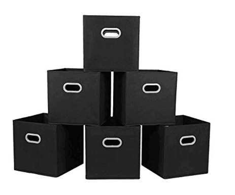Foldable Cloth Storage Cube,6 Pack, Black,12