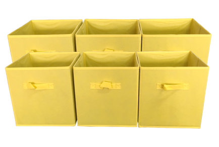Sodynee Foldable Cloth Storage Cube Basket Bins Organizer Containers Drawers, 6 Pack, Yellow