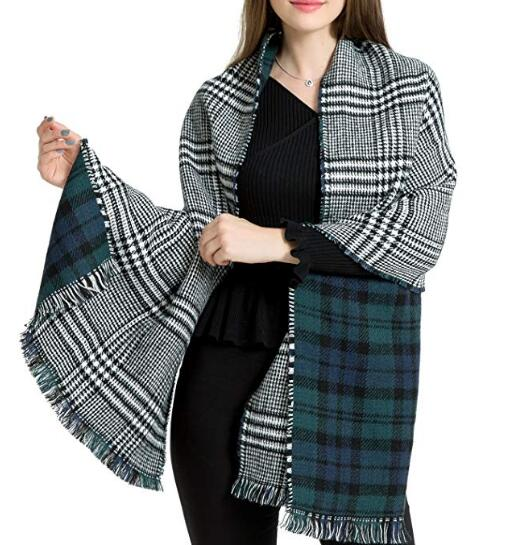 Warm Plaid Fashion Women Oversized Fringe Scarf Blanket Shawl Wraps Poncho Pashminas