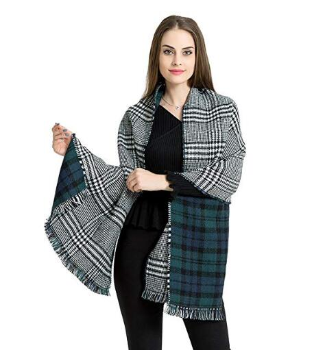 Sodynee Warm Plaid Fashion Women Oversized Fringe Scarf Blanket Shawl Wraps Poncho Pashminas