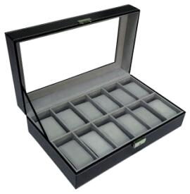 Sodynee 12 Mens Large Watch Box Black Pu Leather Display Glass Top Jewelry Case Organizer Box