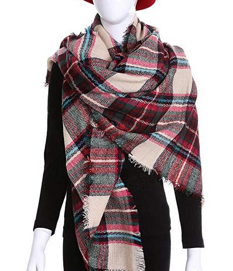 Sodynee Warm Plaid Fashion Women Oversized Fringe Scarf Blanket Shawl Wraps Poncho Pashminas S139