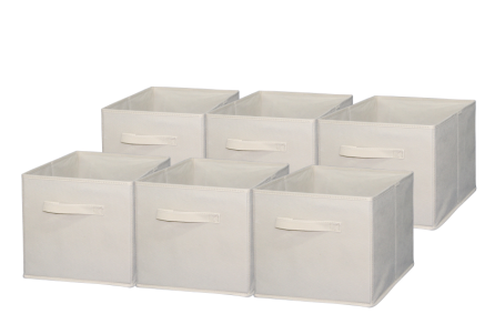 Sodynee Foldable Cloth Storage, 6 Pack, Beige