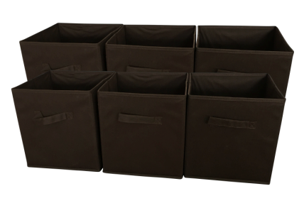 SodyneeFoldable Cloth Storage Cube , 6 Pack, CHOCOLATE