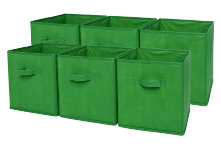 Sodynee Foldable Cloth Storage Cube, 6 Pack, Green