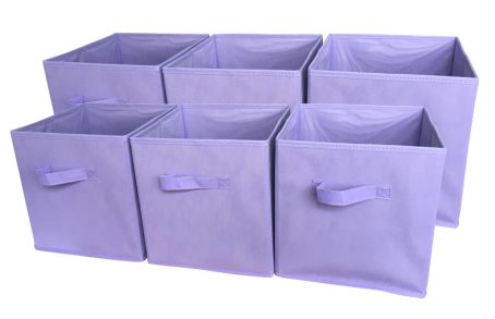 Sodynee Foldable Cloth Storage Cube, 6 Pack, Light Purple