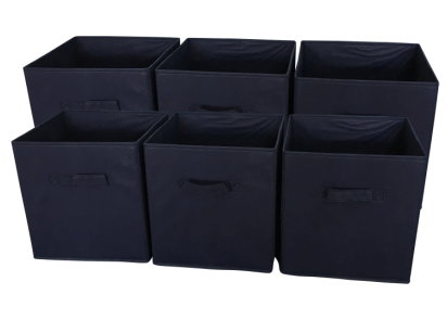 Sodynee Foldable Cloth Storage Cube, 6 Pack, Navy Blue