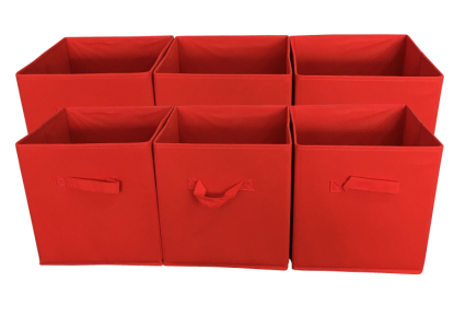 Sodynee Foldable Cloth Storage Cube, 6 Pack, Red