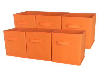 Sodynee Foldable Cloth Storage Cube, 6 Pack, Orange