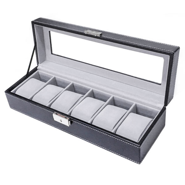 Sodynee WBPU6-03 6-Compartment, PU Leather Display Glass Top Watch Organizer Box